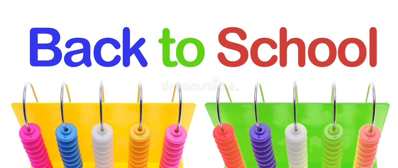 Zurück zu Schule-und Spielzeug-Rechenmaschine stockfotografie