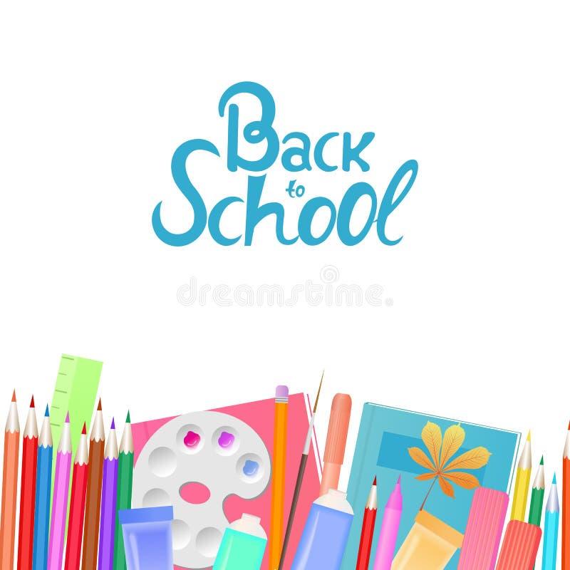 Zurück zu Schulefahne Schulbedarf für das Unterrichten und Kinder ` s Kreativität lizenzfreie abbildung