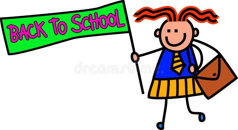 Zurück zu Schulemädchen lizenzfreie abbildung