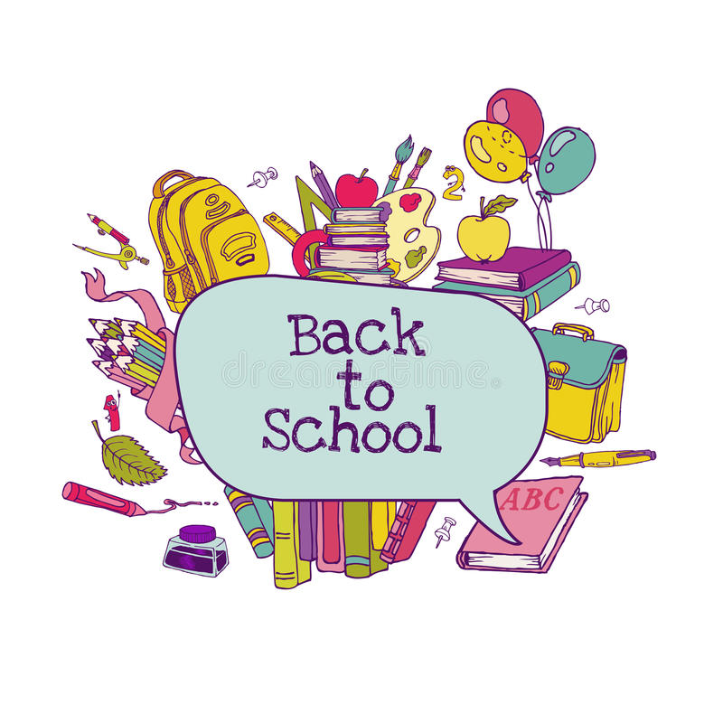 Zurück zu Schuleset stock abbildung