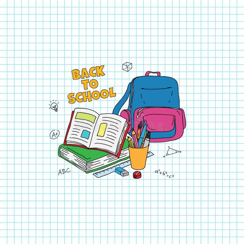 Zurück zu Schuletext Studieren der Materialgekritzel-Artillustration Geöffnetes Buch, Tasche, Stift, Bleistiftillustration stock abbildung