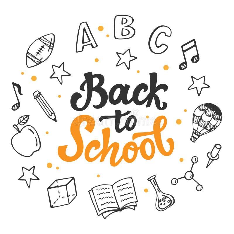 Zurück zu Schulfahnenschablone mit Hand gezeichneten Schulbedarfikonen stock abbildung