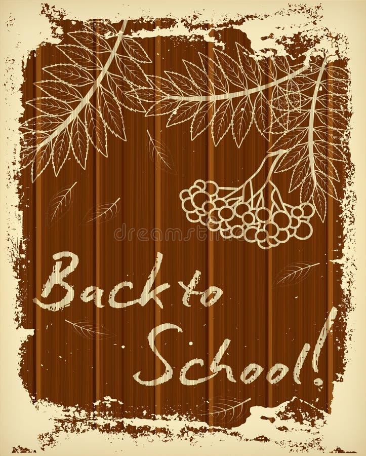 Zurück zu Schulgrußkarte mit Kreidemuster stock abbildung