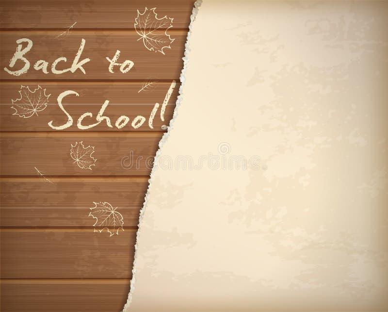 Zurück zu Schulhintergrund mit Herbstblatt-Kreidemuster stock abbildung