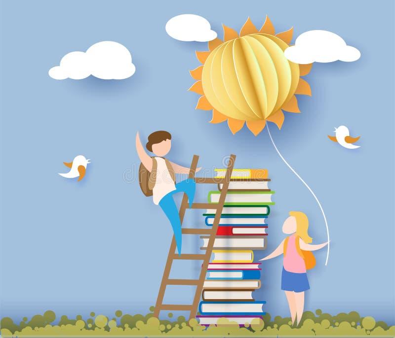 Zurück zu Schulkarte mit Kindern, Büchern und Sonne lizenzfreie abbildung