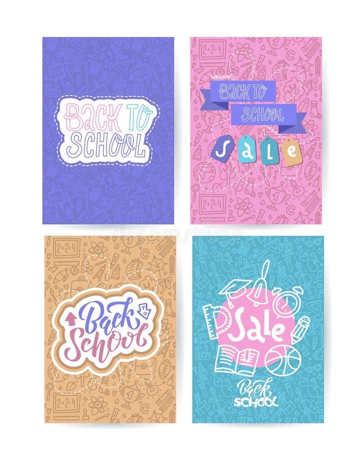 Zurück zu Schulkartensatz mit Farbemblemen auf dem unterschiedlichen Hintergrund, der aus Schulbedarf besteht Schuleinkaufen Vekt stock abbildung