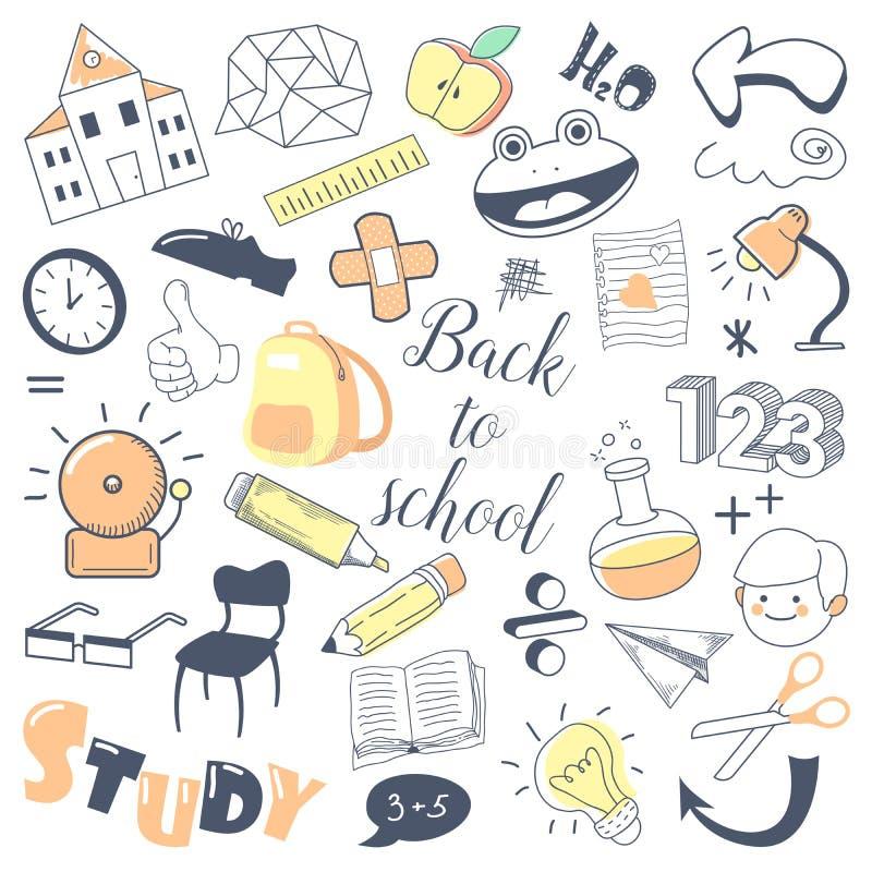 Zurück zu Schulkinderhand gezeichnetes Gekritzel mit Jungen, Stift und Mathematik getrennte alte Bücher lizenzfreie abbildung