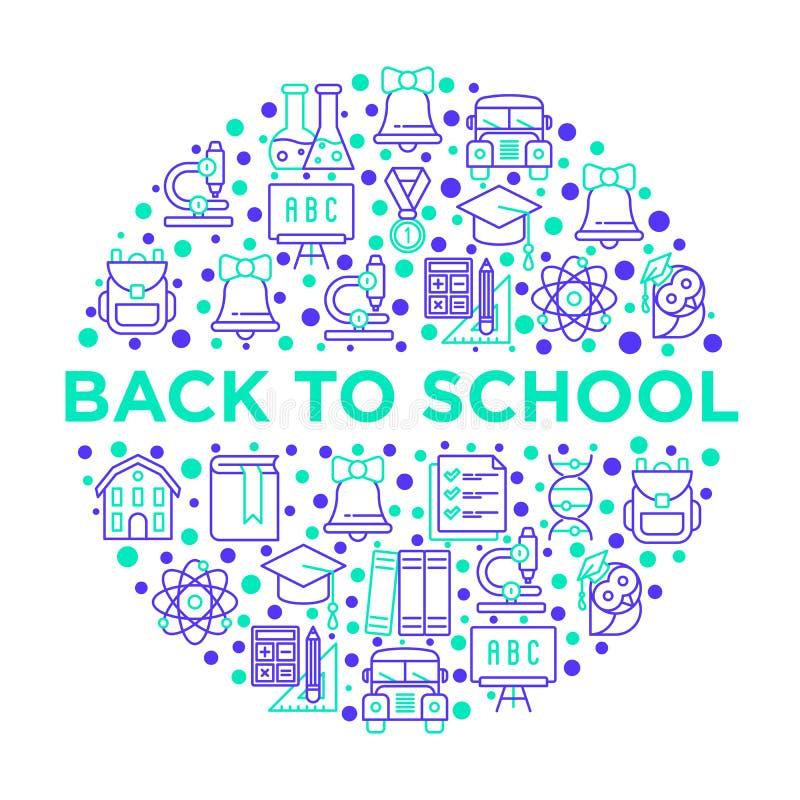 Zurück zu Schulkonzept im Kreis mit dünner Linie Ikonen: Rucksack, Glocke, Buch, Mikroskop, Wissen, Eule, Chemie, Mathematik, stock abbildung