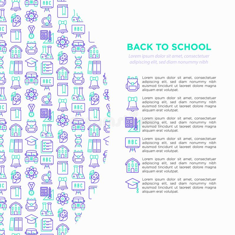 Zurück zu Schulkonzept mit dünner Linie Ikonen: Rucksack, Glocke, Buch, Mikroskop, Wissen, Eule, Staffelungskappe, Bus, Biologie, stock abbildung