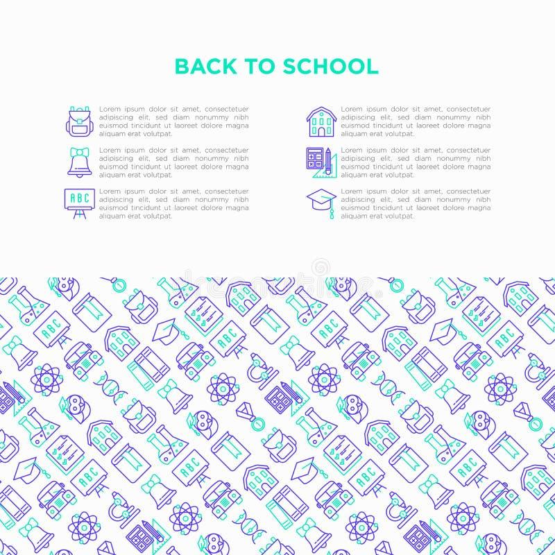 Zurück zu Schulkonzept mit dünner Linie Ikonen: Rucksack, Glocke, Buch, Mikroskop, Wissen, Eule, Staffelungskappe, Bus, Chemie, stock abbildung