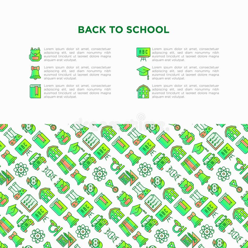 Zurück zu Schulkonzept mit dünner Linie Ikonen: Rucksack, Glocke, Buch, Mikroskop, Wissen, Eule, Staffelungskappe, Bus, Chemie, vektor abbildung