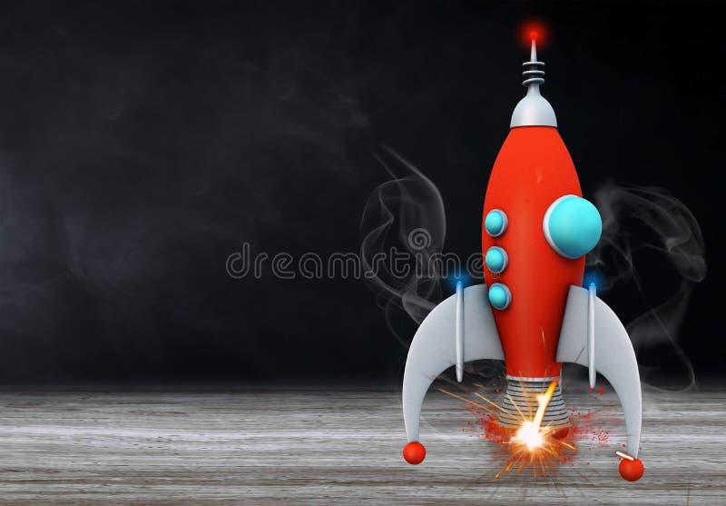 Zurück zu Schulkonzept mit Raketentafelhintergrund vektor abbildung