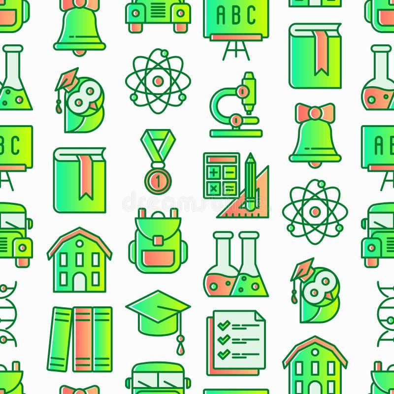 Zurück zu Schulnahtlosem Muster mit dünner Linie Ikonen: Rucksack, Glocke, Buch, Mikroskop, Wissen, Eule, Staffelungskappe, Bus, lizenzfreie abbildung