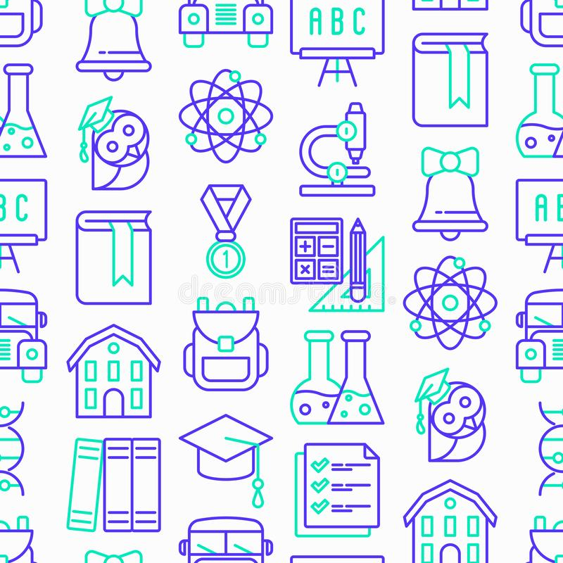 Zurück zu Schulnahtlosem Muster mit dünner Linie Ikonen: Rucksack, Glocke, Buch, Mikroskop, Wissen, Eule, Staffelungskappe, Bus, lizenzfreies stockbild