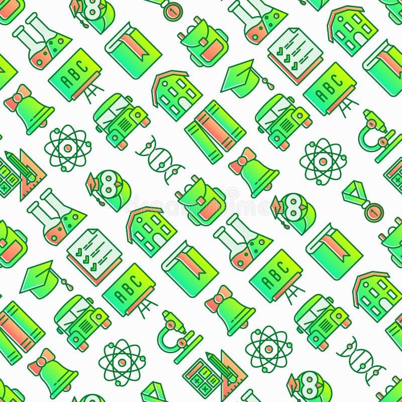 Zurück zu Schulnahtlosem Muster mit dünner Linie Ikonen: Rucksack, Glocke, Buch, Mikroskop, Wissen, Eule, Staffelungskappe, Bus, vektor abbildung
