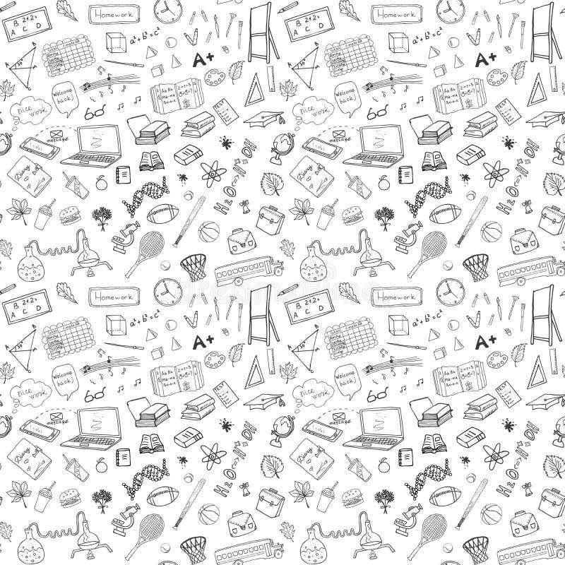 Zurück zu Schulnahtlosem Muster mit von Hand gezeichneten Gekritzeln Skizzenelementhintergrund Vektor-Illustration stock abbildung