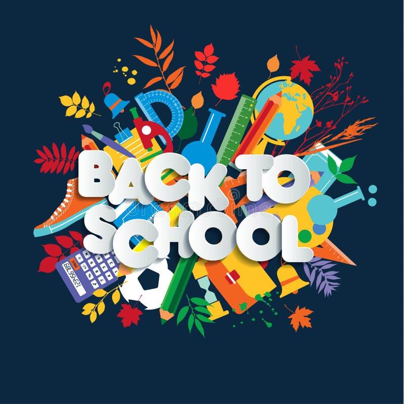 Zurück zu Schulnetzfahne, bunter Kinderillustration mit Klassenversorgungen und glücklichem Typografiezitat lizenzfreie abbildung
