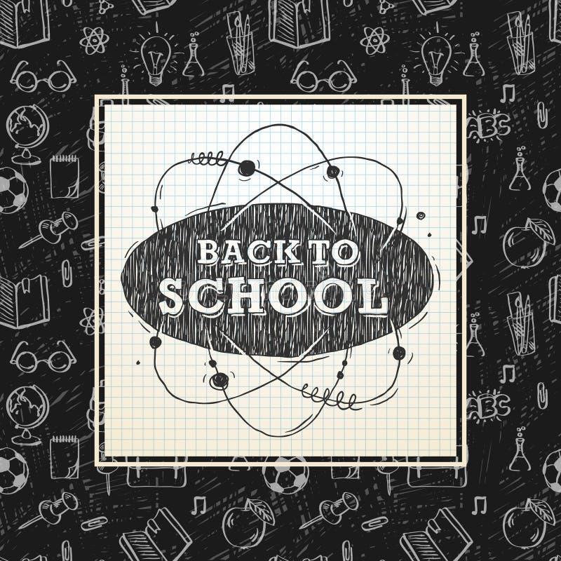 Zurück zu Schulplakat kritzelt flüchtiges Notizbuch mit Beschriftung, vector Illustration lizenzfreie abbildung