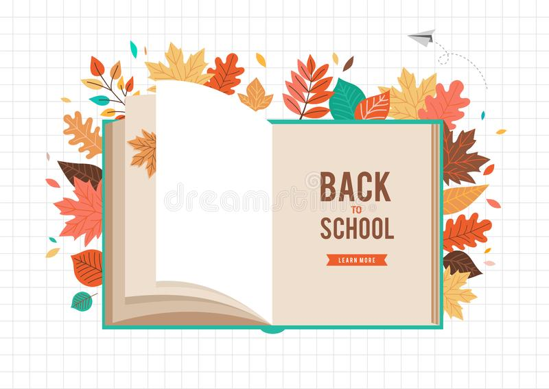 Zurück zu Schulszene mit großem Buch und Herbst, Fallblätter College-, Schul- und Hochschulkonzeptvektorillustration vektor abbildung