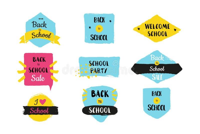 Zurück zu Schulvektor-Ausweissatz Ausbildungsförderung, Verkaufsanzeige, typografische Illustration auf Schmutzaufklebern vektor abbildung