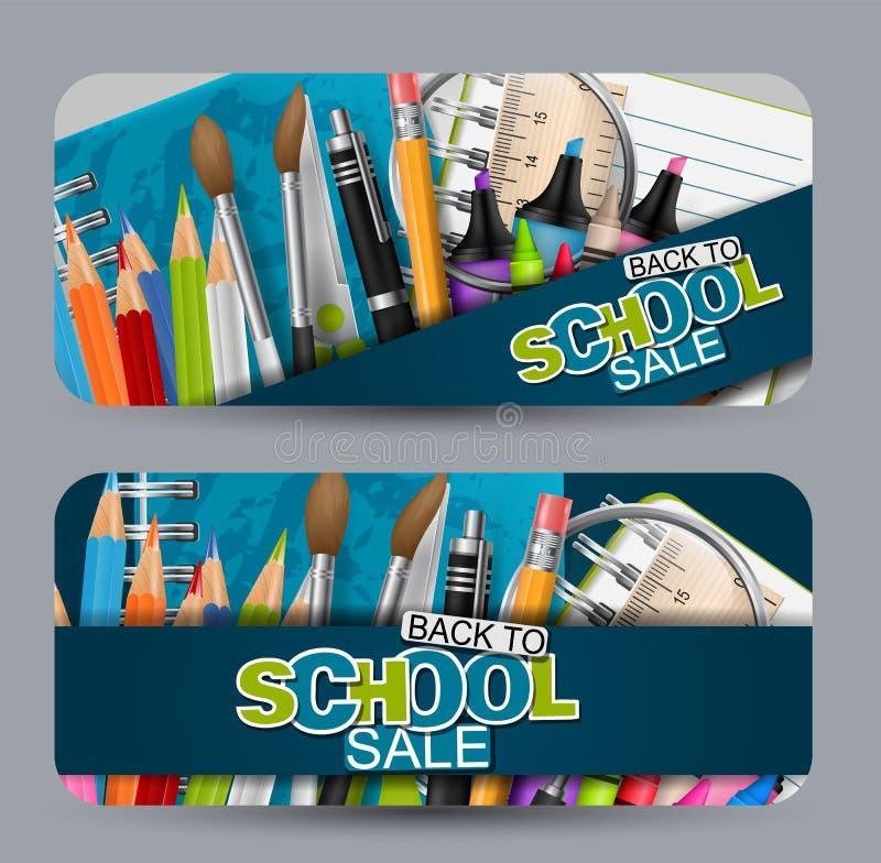 Zurück zu Schulverkaufs-Fahnensatz Titel für Anzeige oder Einkaufsrabattförderung Realistische Studienversorgungen vektor abbildung