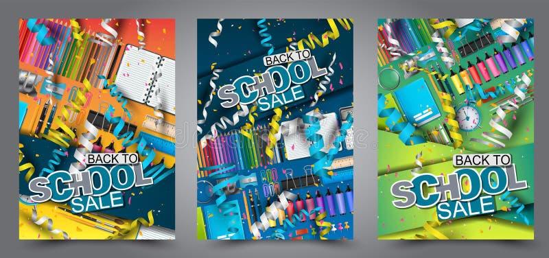 Zurück zu Schulverkaufs-Fliegerbroschüre Hintergrund a4 mit Konfettis und fallendem Ringellockefeierkonzept stock abbildung