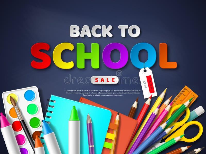 Zurück zu Schulverkaufsplakat mit realistischem Schulbedarf Papier schnitt Artbuchstaben auf Tafelhintergrund, Vektor stock abbildung