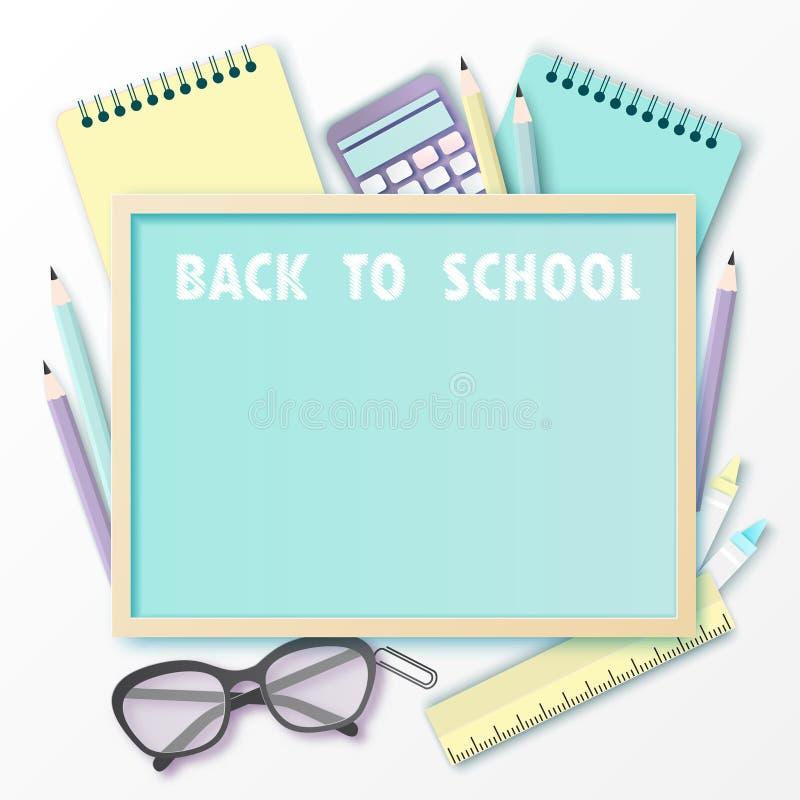 Zurück zu Schulzeitungskunsthintergrund mit Gläsern, Bleistift, Tafel stock abbildung