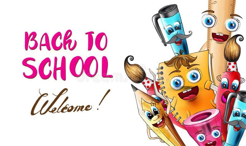Zurück zur Schule Cartoon Figuren Vector Aquarell. Illustration von Stift- und Linealfiguren lizenzfreie abbildung