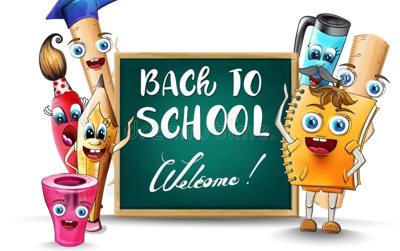 Zurück zur Schule Cartoon Figuren Vector Aquarell. Illustration von Stift- und Linealfiguren stock abbildung