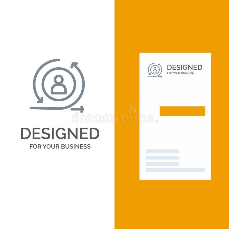 Zurückbringen, Besucher-, Zurückbringenbesucher, Digital Grey Logo Design und Visitenkarte-Schablone stock abbildung