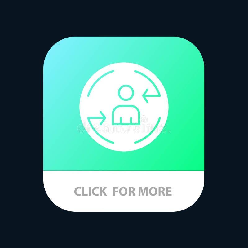 Zurückgehen, Besucher, Digital, vermarktender mobiler App-Knopf Android und IOS-Glyph-Version lizenzfreie abbildung