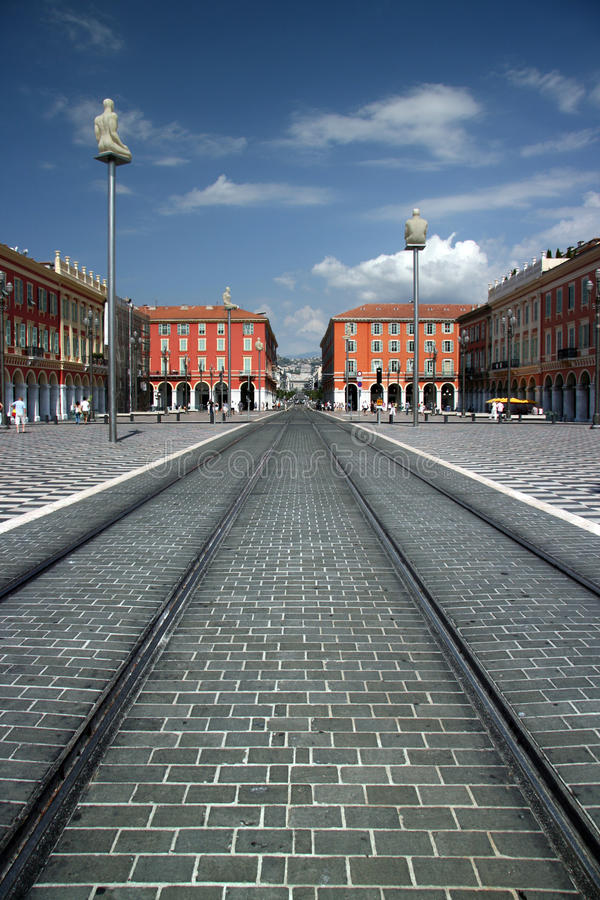 Zurückgestellter Platz Massena - Nizza Frankreich stockbilder