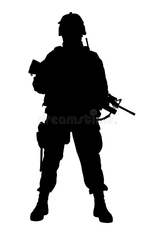 Zurückhaltendes Studiotrieb des modernen Armeeinfanteristen lizenzfreie stockfotografie