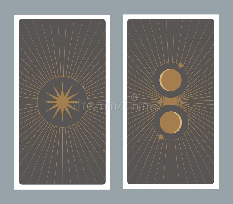 Zur?ck von der Tarockkarte verziert mit Sternen, Sonne und Mond vektor abbildung