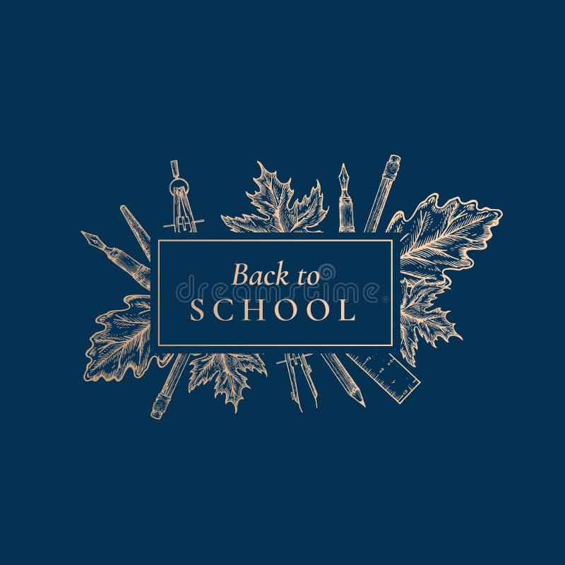 Zur?ck zu Schule Abstrakter Vektor-Retro- Aufkleber, Zeichen oder Karten-Schablone Hand gezeichnetes stationäres und Autumn Leafs lizenzfreie abbildung