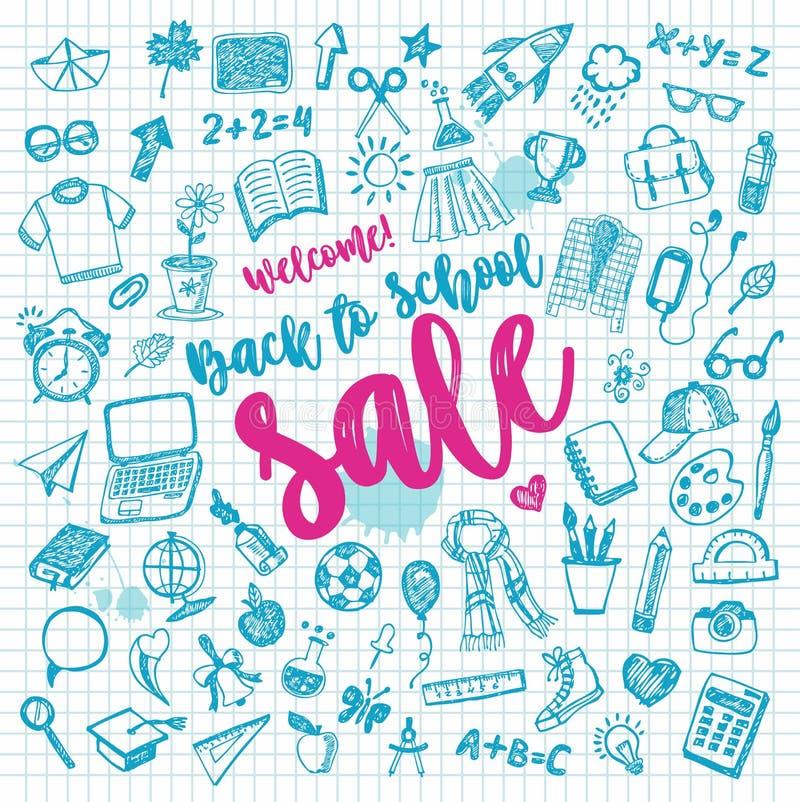 Zur?ck zu Schule Farbgekritzel eingestellt vom Verkauf Freihandzeichnenzeichnung - Vektor mit Beschriftung stock abbildung