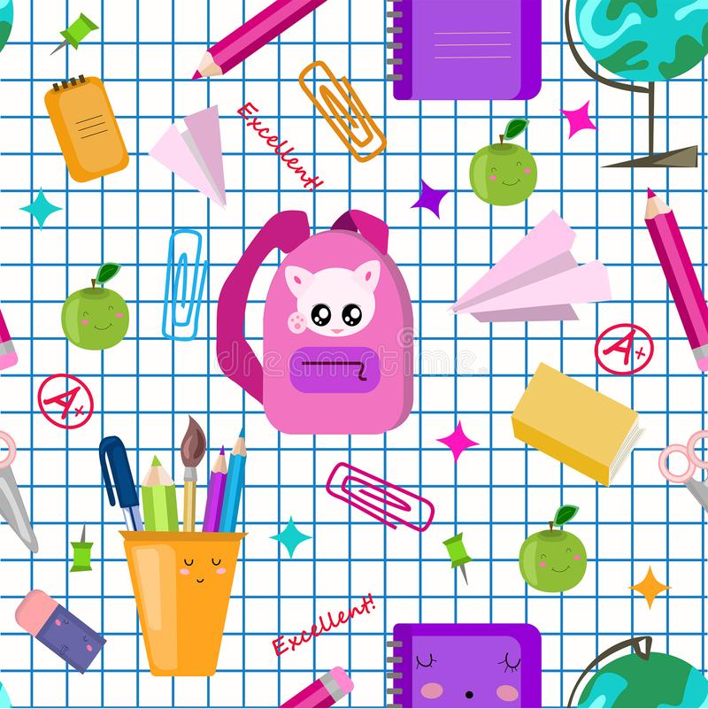 Zur?ck zu Schule-Konzept Nahtloses Muster des Vektors Schul Nette kawaii Kinder drucken, Beschaffenheit Zur?ck zu Schule Quadrati lizenzfreie abbildung
