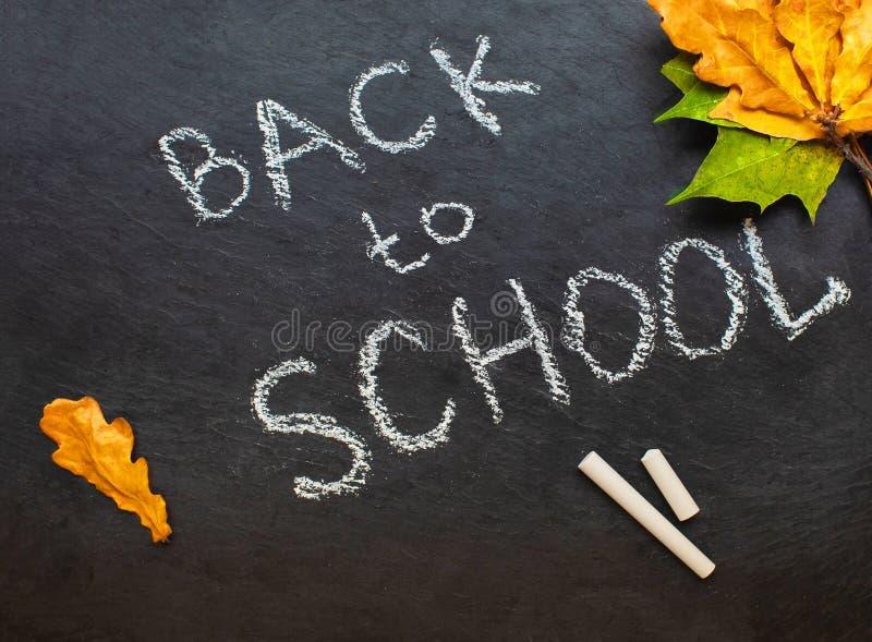 Zur?ck zu Schule-Konzept Schwarze Tafel mit St?cken Kreiden und Herbst yelllow verl?sst auf wei?em Hintergrund Flache Lage stockfoto