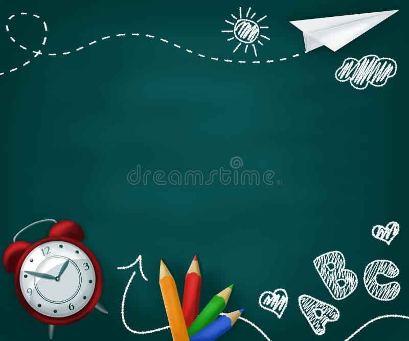 Zur?ck zu Schulekonzepthintergrund Realistischer Schulbedarf auf einer grünen Tafel mit den Zeichnungen der Kinder stock abbildung