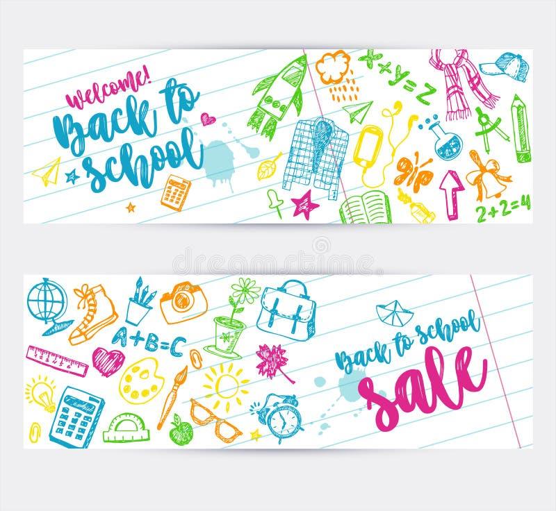 Zur?ck zu Schulepromo-Fahnenentwurf Vektorhintergrundfarbzeichenstifte und -bleistifte Handgezogene Gekritzelskizzen mit Schule stock abbildung