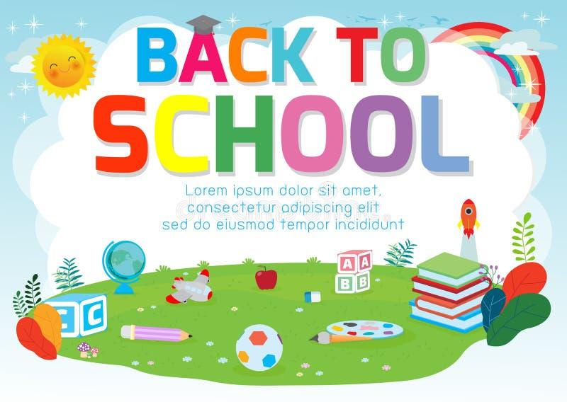 Zur?ck zu Schulhintergrund-Plakat Schulbedarf auf dem Gras, begrüßt zurück zu Schulfahne, nette Schulkinder Bildungskonzept, stock abbildung