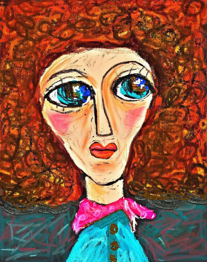 Zur?ckblickende Zusammenfassung Malereiweinleseillustration Handgezogenes Porträt des hübschen Mädchens Afro auf rotem Hintergrun lizenzfreie abbildung