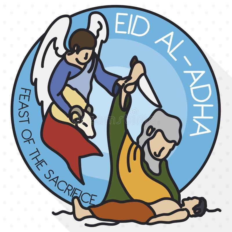 Zur Erinnerung flaches Design für moslemische Feier von Eid al-Adha, Vektor-Illustration vektor abbildung