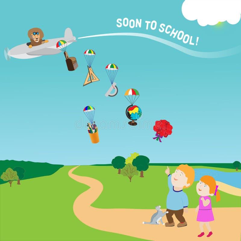 Zur Schule bald kommen, Vektor, Versorgungen kochend lizenzfreie abbildung