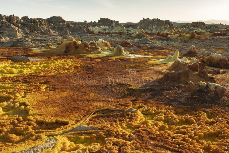Zure concreties in Dallol-plaats in de Danakil-Depressie in Ethiopië, Afrika royalty-vrije stock fotografie
