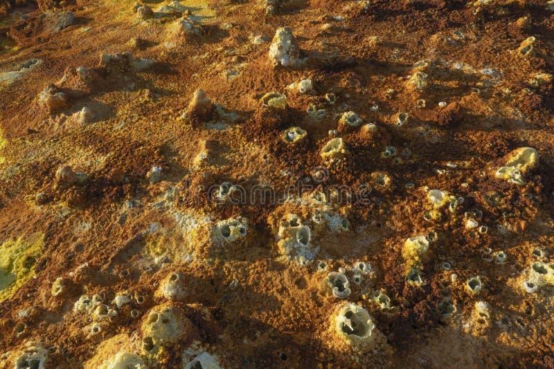 Zure concreties in Dallol-plaats in de Danakil-Depressie in Ethiopië, Afrika royalty-vrije stock afbeelding