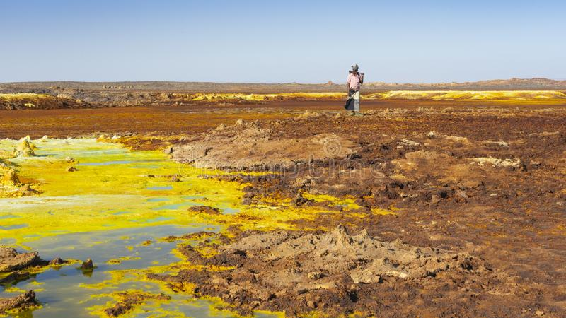 Zure vijvers in Dallol-plaats in de Danakil-Depressie in Ethiopi?, Afrika royalty-vrije stock afbeelding