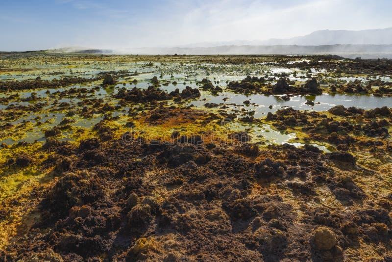 Zure vijvers in Dallol-plaats in de Danakil-Depressie in Ethiopi?, Afrika royalty-vrije stock foto's