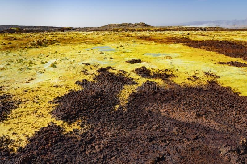 Zure vijvers in Dallol-plaats in de Danakil-Depressie in Ethiopi?, Afrika stock foto's